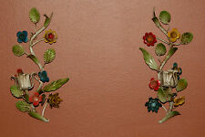 Pair Vintage Italian Tole Florentine Flowers Candle Holder Sconces Candelabras 2