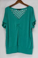 Affinity for Knits Size 2X Dolman Sleeve Laser Cut Back Top Jade Green