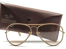 879ea293f VINTAGE RAY BAN TAN PERFORATED LEATHERS AVIATOR 58MM CHANGEABLE B&L  SUNGLASSES
