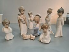 Small Lladro Nativity Ornament 9 Figure Set  excellent