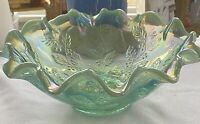 Fenton Glass Blue Green Iridescent Holly Berry Bowl Opalescent Ruffled Rim