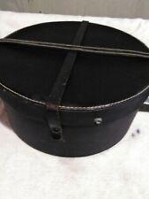 Vintage round leather hat box