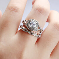 Women Engagement Wedding Band Two Tone Ring Set  White Sapphire Square Cut
