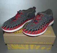 KEEN Boy's Unisex Kids Uneek O2 Sport Sandal Shoes Grey Red Size 13 US New