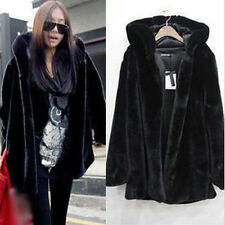Women Faux Fur Winter Warm Oversized Parka Black Jacket Hooded Coat Outwear Tops