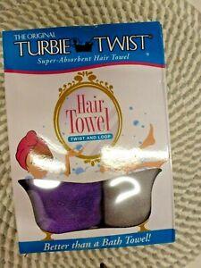 TURBIE TWIST~SUPER-ABSORBENT~TWIST & LOOP~2 PACK PURPLE & GREY