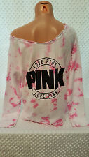 NWT Victoria's Secret PINK Tie Dye Pink/White Off the Shoulder Pullover M
