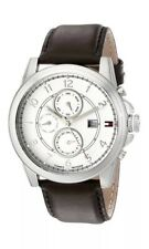 Tommy Hilfiger 1710294 Mens Genuine Brown Leather Classic Strap Dual Time Watch