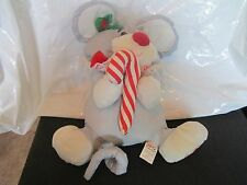 Fisher Price Christmas Plush Puffalump Grey Mouse Candy Cane Holly Berry Toy1987