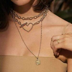 24K Gold Chain with Love Heart Charms Bead Necklace Fashion Women Jewelry Gift