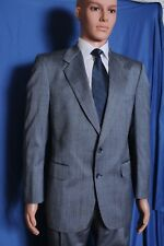 Vtg '80s Kingsridge custom fabric shiny silver plaid 2 piece suit 38 33.5X29.75