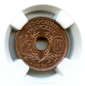 Indochine Française 1/2 Cent 1938 NGC MS 67 RB