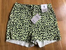 Denim and Co Neon Yellow High Waisted Leopard Print Denim Shorts Size 6