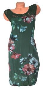 ITALY Mode Damen Kleid Blumen Makramee dunkelgrün GR. L 42 44 46 NEU