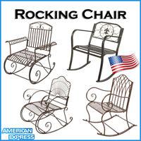Outdoor Rocking Chairs Wrought Iron Porch Patio Rocker Metal Flat Iron Tube US
