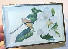 Mirrored Magnolia Trinket Box Southern Shabby Cottage Chic Beveled Glass Vintage