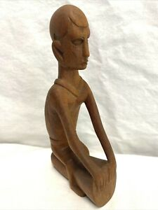 Primitive Hand Carved Wooden Tribal Drummer Sitting on Drum Folk Art Statue