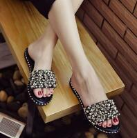 Fashion Womens Sequins Slippers Sandals Shoes Flats Summer Black White Mules new