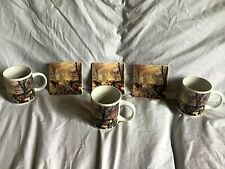 THOMAS KINKADE Set Of 6 Coffee Mugs & Coasters A Victorian Christmas 2011 ~EUC~
