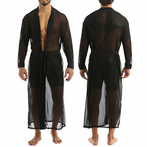 Mens Sexy Lingerie Sheer Mesh Long Sleeve Open Front See Through Robes Blouse