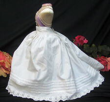 ANTIQUE doll clothes COTTON full SKIRT eyelet lace BUSTLE pin tucks fits 18-22""