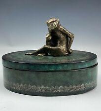 Maitland Smith w/ Cast Figural Metal Monkey Wood Wooden Jewelry Trinket Box TKL