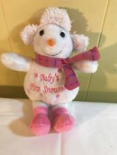 """Baby's First Snowman 9"""" Plush White With Pink Scarf Boots Hat Girl"""