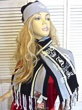 NWT-$148 JUICY COUTURE 'HOUSE OF JUICY' SCARF & HAT BLACK/GRAY/IVORY WOOL BLEND