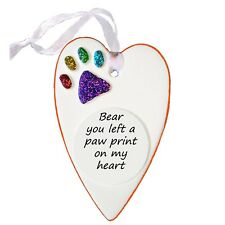 Rainbow Bridge Personalised Heart Paw Print Plaque by Truly for You FREE POEM