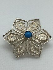 sterling silver turquoise Set Filligree Flower Brooch