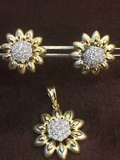 1.24 Cts Round Brilliant Cut Natural Diamonds Pendant Earrings Set In 14K Gold
