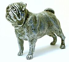 PEWTER HAND MADE MINIATURE PUG DOG FIGURINE IN SILVER COLOUR STATUETTE