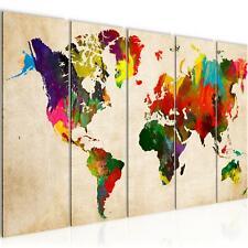 Wandbilder Set | Weltkarte | XXL Bild für Schlafzimmer Wohnzimmer Flur 150x60cm