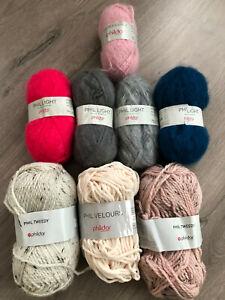 Lot de restes de pelotes de laine Phildar couleurs variées