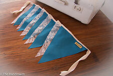 2m Handmade Bunting Flags Teal and Lace - Party Wedding Child Bedroom Decor