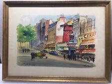 Fernand Guignier French Artist Moulin Rouge 1961 Montmartre Watercolor Windmill.