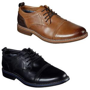 Skechers Bregman - Selone Chaussures Hommes Cuir Oxford Robe Casquette Orteil