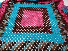 Crochet Handmade Afghan Large Granny Squares Blanket 56x70 Variegated Pink Vtg
