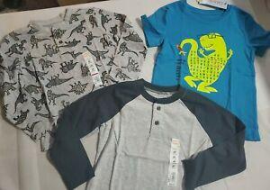 Multi Brand~ Boys Lot of 3 Shirts~2 Henley & 1 T-Shirt~ Size 4T~Dinosaur~NWT