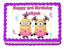 DESPICABLE ME MINIONS in pink party edible cake image cake topper frosting sheet