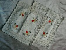 two crochet embroidered shabby chic Christmas cushion covers candles holly bows