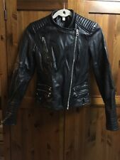 Zara Trf Womens Faux Leather Black Biker Jacket Size XS/6-8