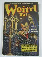 Weird Tales Pulp July 1944-GD Death's Bookkeeper- Jules de Grandin- Skull cover