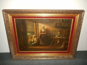 Large antique oil painting,{ Family after the storm, is signed, nice frame! }.