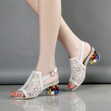 Womens Med Block Heel Peep Toe Mesh Sequins Slingback Sandals Pumps Chunky Shoes
