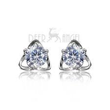 New 925 Sterling Silver White Cubic Zirconia Swarovski Shine Stone Stud Earring