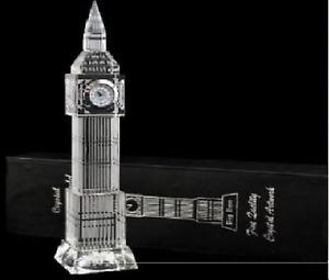 Big Ben Crystal Glass Clock 3D Laser Multi Lights London Souvenir Ornament 23CM