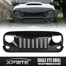 Eagle Eye Black Front Grill Grille with Built-In Mesh for 07-18 Jeep Wrangler JK
