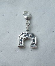 CLIP ON LUCKY HORSE SHOE HORSESHOE WEDDING CHARM 925 STERLING SILVER
