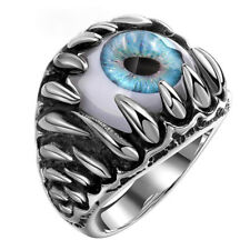 Stainless Steel Rings Eyeball Evil Eye Finger Ring Men's Women Band US Size 8-11